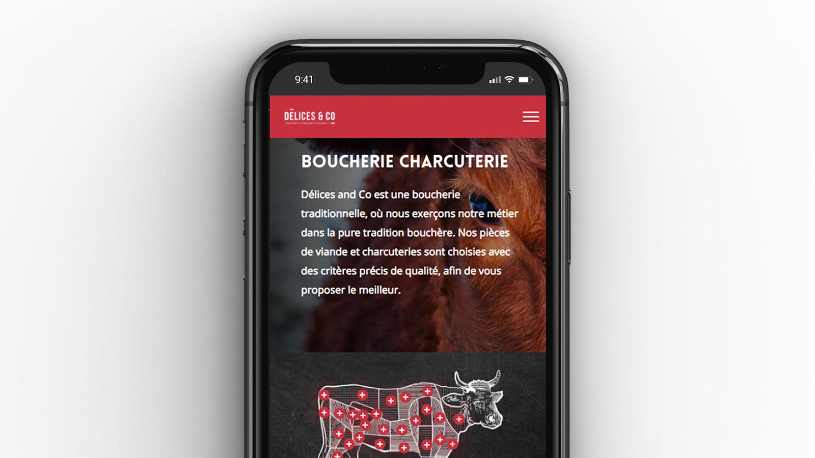 Site internet de la Boucherie Délices & Co
